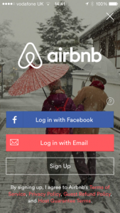 Air bnb app login screen