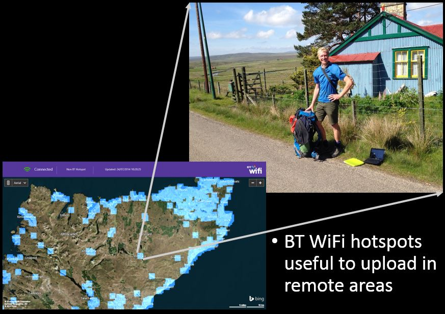 Using the only wifi hotspot in the Flow country to upload my blog! (the hotspot came from the tin house in the background) - at Kinbrace