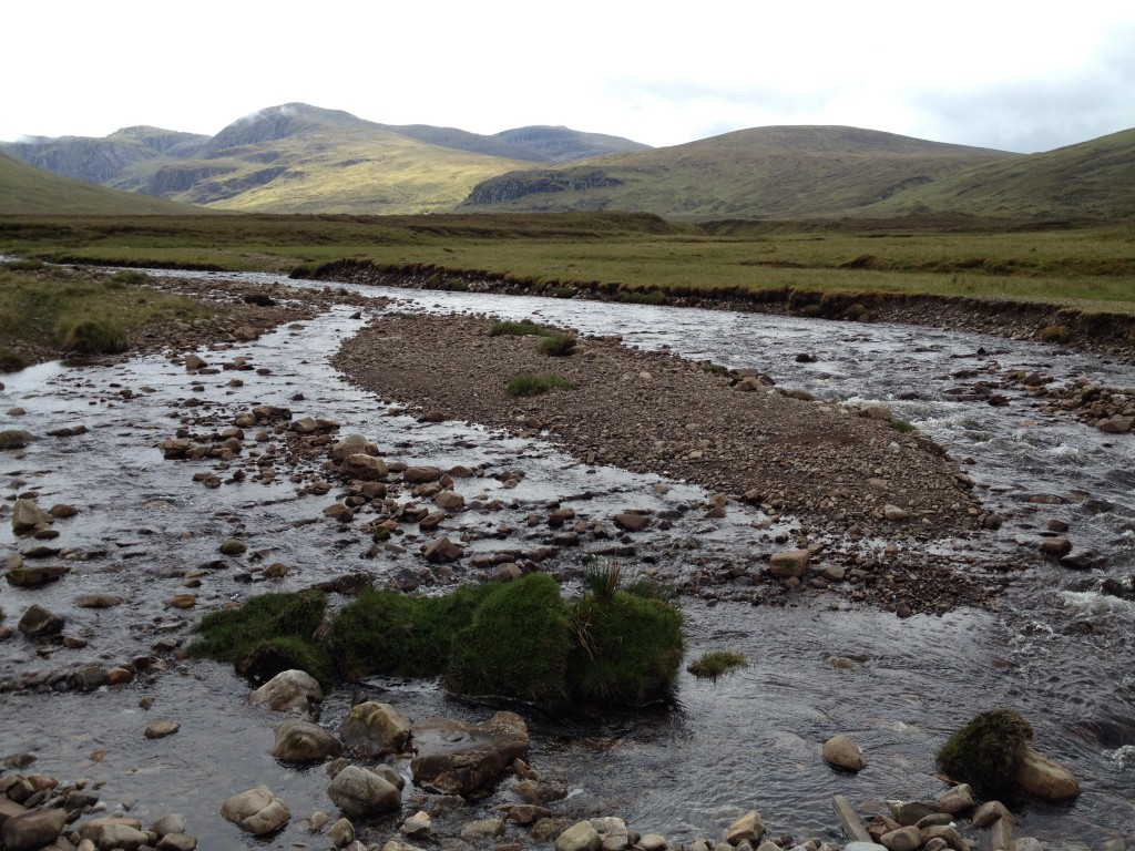 River crossing on the way to Knockdamph.  Luckily not in spate or esle it would have required a 24 hour detour.   2 days later there was a downpour and all the rivers in the area were transformed to raging muddy torrents