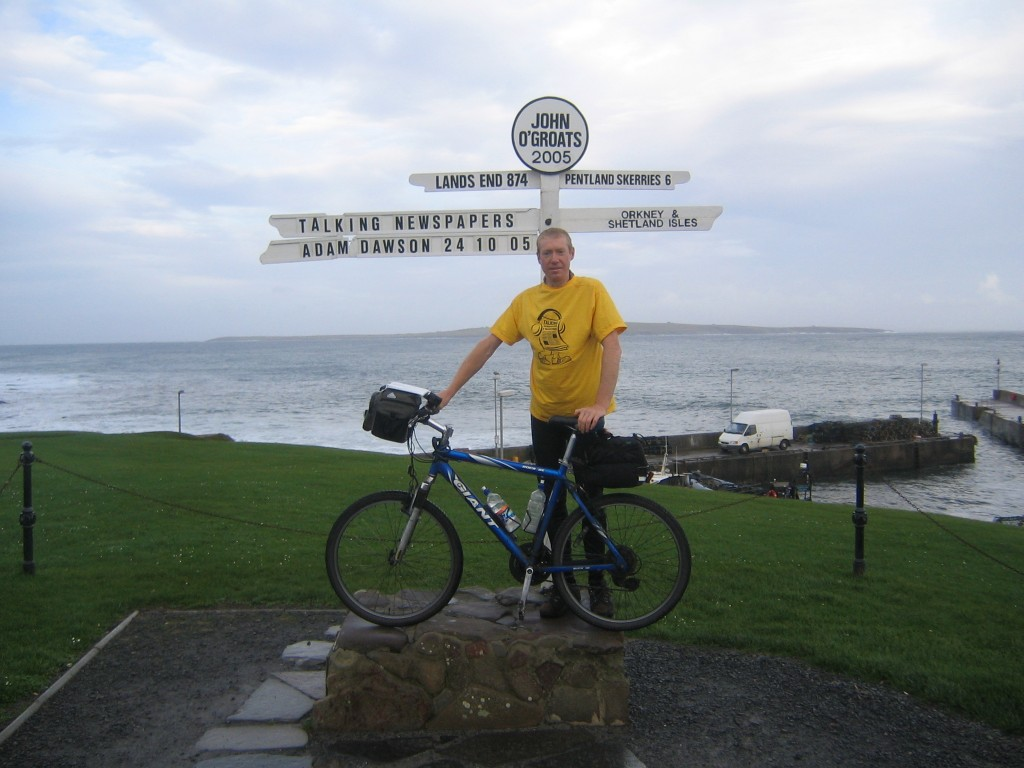 """At John O'Groats after my 2005 bike ride - this is what made me want to come back and do it """"properly"""""""