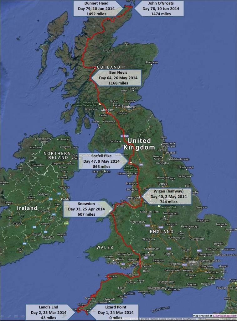 LEJOG actual route annotated map