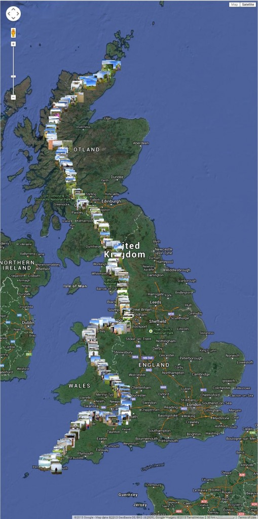 LEJOG photos from Picasa on a map