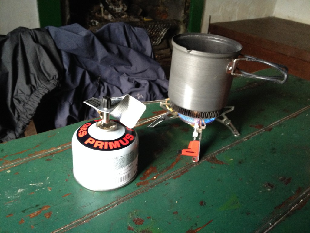Using my stove in Knockdamph bothy for a quick brew