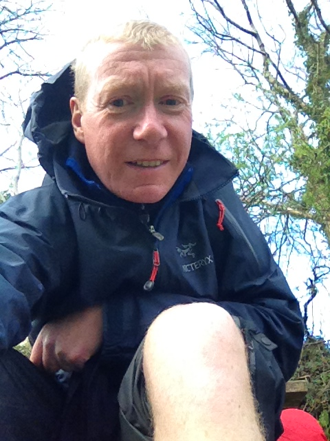 Checking out the knees after a particularly hard day on the South West Coast Path